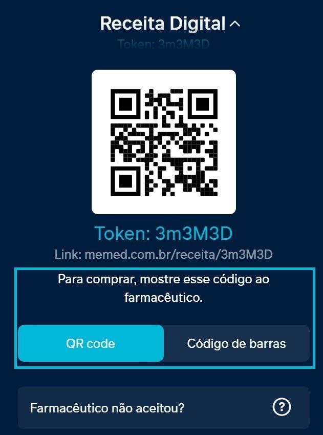 Ilustração com a notificação do Token.